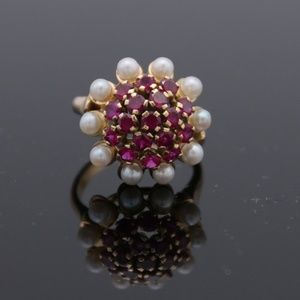 Jewelry - 14KT Yellow Gold Victorian Design Ruby Pearl Ring